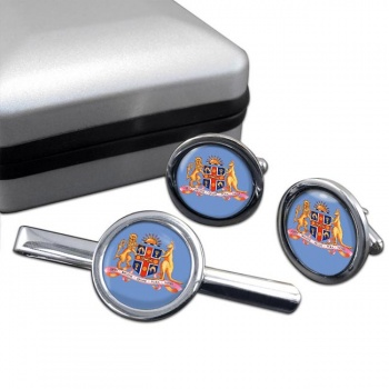 New South Wales, Coat of Arms  Round Cufflink and Tie Clip Set