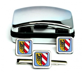 Nurnberg Nuremberg (Germany) Square Cufflink and Tie Clip Set