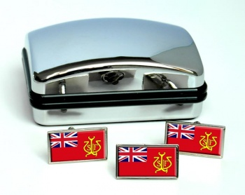 North Wales and North West Sea Fisheries Ensign Rectangle Cufflink and Tie Pin Set