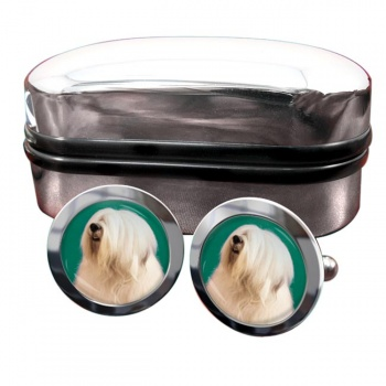 Old English Sheepdog  Round Cufflinks