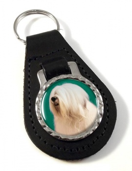 Old English Sheepdog Leather Key Fob