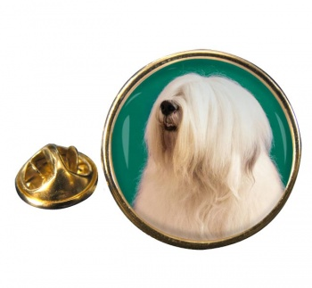 Old English Sheepdog Round Pin Badge