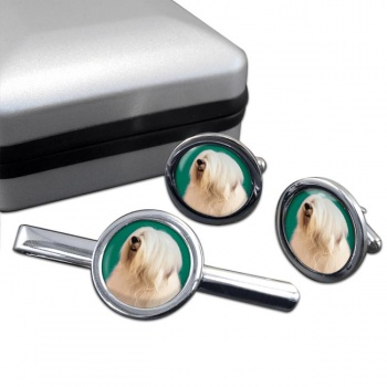 Old English Sheepdog  Cufflink and Tie Clip Set