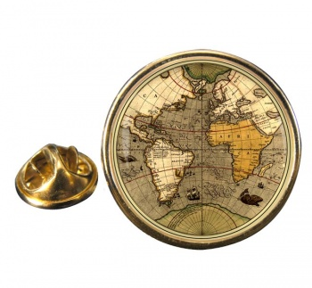 Antique World Map Round Pin Badge