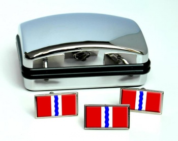 Omsk Oblast Flag Cufflink and Tie Pin Set
