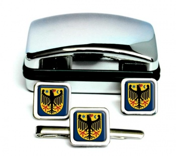 Orebro (Sweden) Square Cufflink and Tie Clip Set