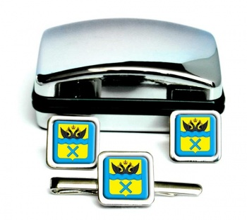 Orenburg Square Cufflink and Tie Clip Set