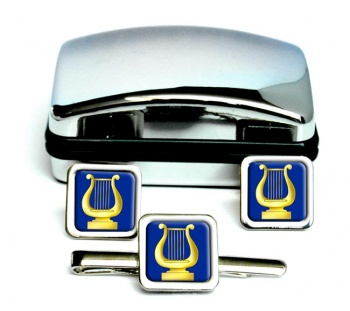 Masonic Lodge Organist Square Cufflink and Tie Clip Set