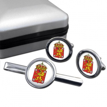 Ostergotland (Sweden) Round Cufflink and Tie Clip Set