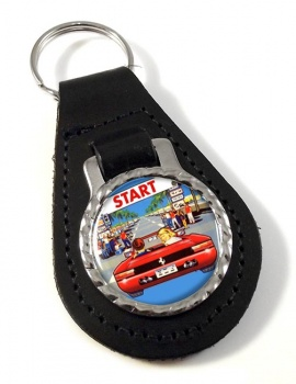 Outrun Game Leather Key Fob
