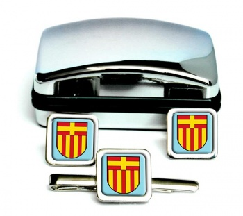 Paderborn (Germany) Square Cufflink and Tie Clip Set
