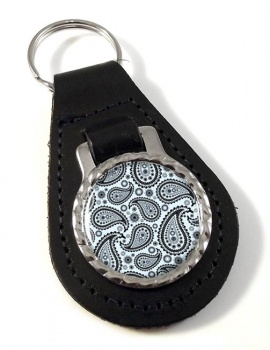 Paisley Mono Leather Key Fob