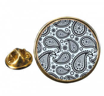 Paisley Mono Round Pin Badge