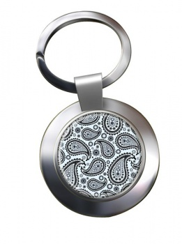 Paisley Mono Chrome Key Ring