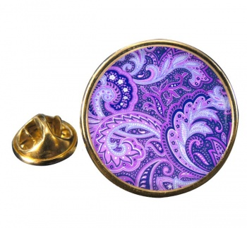 Paisley Purple Round Pin Badge