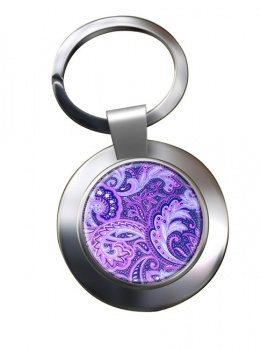 Paisley Purple Chrome Key Ring