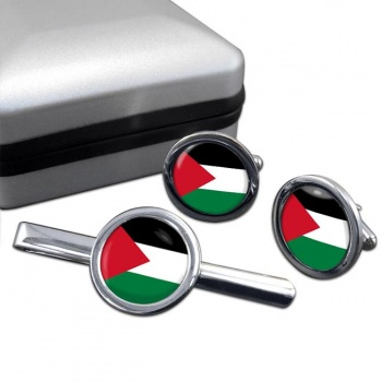 Palestine Round Cufflink and Tie Clip Set