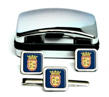 ciudad de Panama Square Cufflink and Tie Clip Set