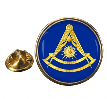 Masonic Lodge Past Master Round Pin Badge