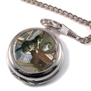 Kitten in the Mirror by Frank Paton Pocket Watch