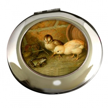 Frog and the Chicks by Frank Paton Round Mirror