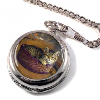 Cat Within An Artist's Hat by Frank Paton Pocket Watch