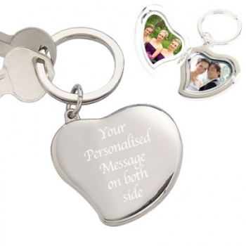 Silver Plated Heart Locket Keyring with Gift Box