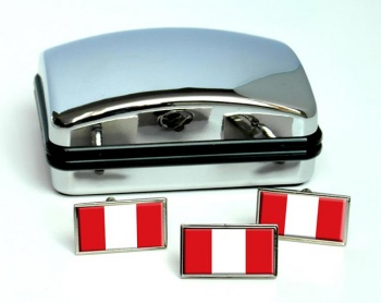Peru Flag Cufflink and Tie Pin Set