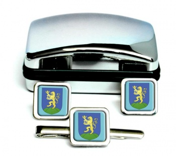 Pest Square Cufflink and Tie Clip Set