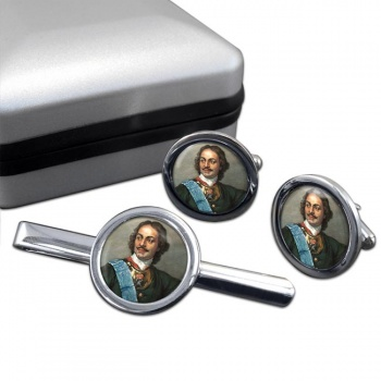 Peter the Great Round Cufflink and Tie Clip Set