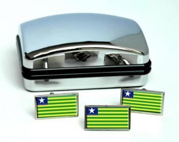 Piaui (Brasil) Flag Cufflink and Tie Pin Set