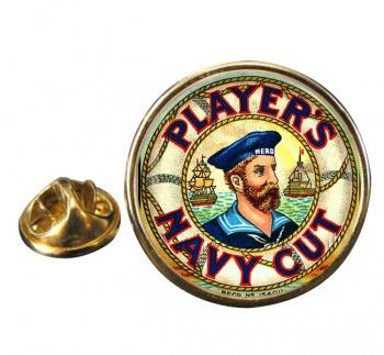 Players Navy Cut Round Pin Badge