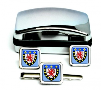 Poitiers (France) Square Cufflink and Tie Clip Set