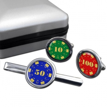 Poker Chips Round Cufflink and Tie Clip Set