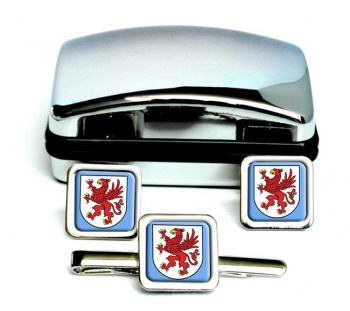 Pommern Pomerania (Germany) Square Cufflink and Tie Clip Set