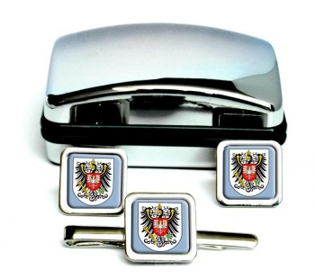 Posen (Germany) Square Cufflink and Tie Clip Set
