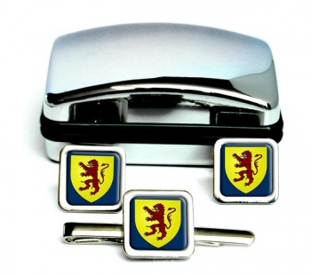 Powys-Square Cufflink and Tie Clip Set