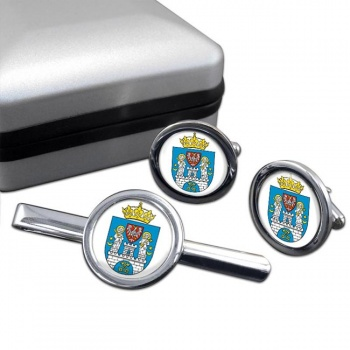 Poznan (Poland) Round Cufflink and Tie Clip Set