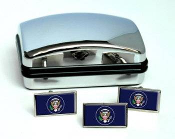 President Of The United States Of America Rectangle Cufflink and Tie Pin Set