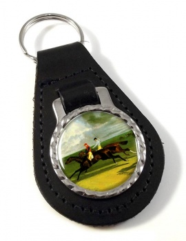 Racehorse Priam by Herring Leather Key Fob