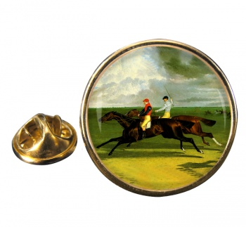 Racehorse Priam by Herring Round Pin Badge