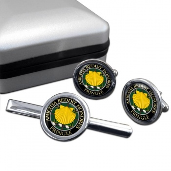 Pringle Scottish Clan Round Cufflink and Tie Clip Set