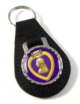 Purple Heart Leather Key Fob