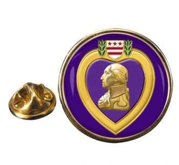 Purple Heart Round Pin Badge