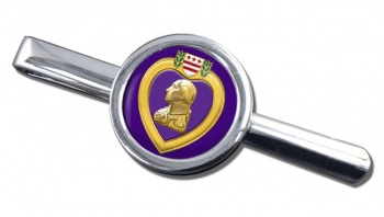 Purple Heart Round Tie Clip