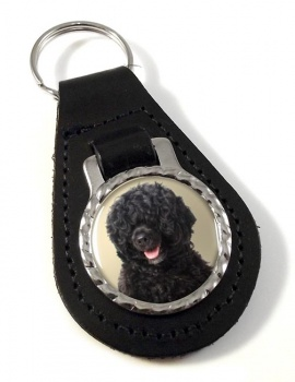 Portuguese Water Dog Leather Key Fob