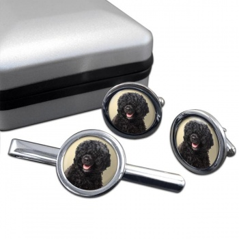 Portuguese Water Dog  Cufflink and Tie Clip Set