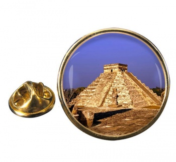 Pyramid Mexico Round Pin Badge