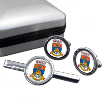 Quebec City (Canada) Round Cufflink and Tie Clip Set
