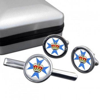 Queensland, Australia Round Cufflink and Tie Clip Set